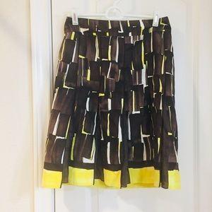 Per Se Silk Linen Concerto Pleated A-Line Skirt 2